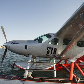 Seaplane picnic, plane on water