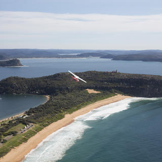 Seaplane above Palm Beach in Sydney