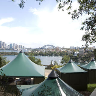Bird's eye view of Taronga's tents
