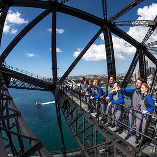 People inside the Sydney Harbour Bridge