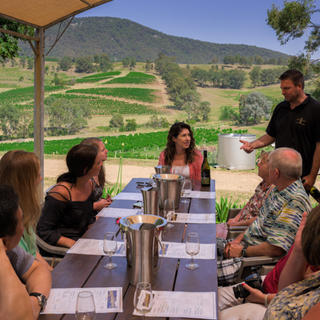 Group enjoying wine tasting in the Hunter Valley
