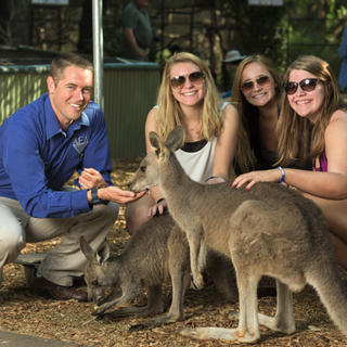 Group with kangaroos in the Hunter Valley
