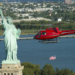 Helicopter at Statue of Liberty